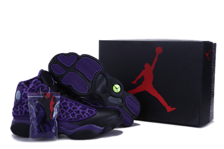 uk availability 0bd7f 6ddd8 Authentic 2013 Air Jordan 13 Leopard Print Black Purple Shoes