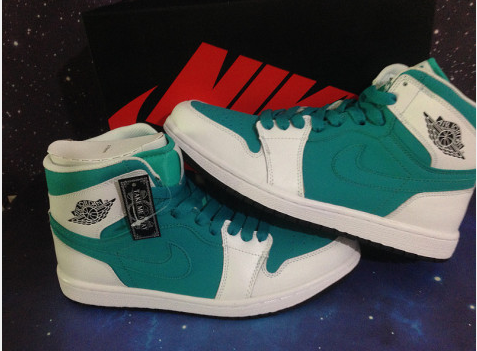 2014 Air Jordan 1 Retro Green White Shoes