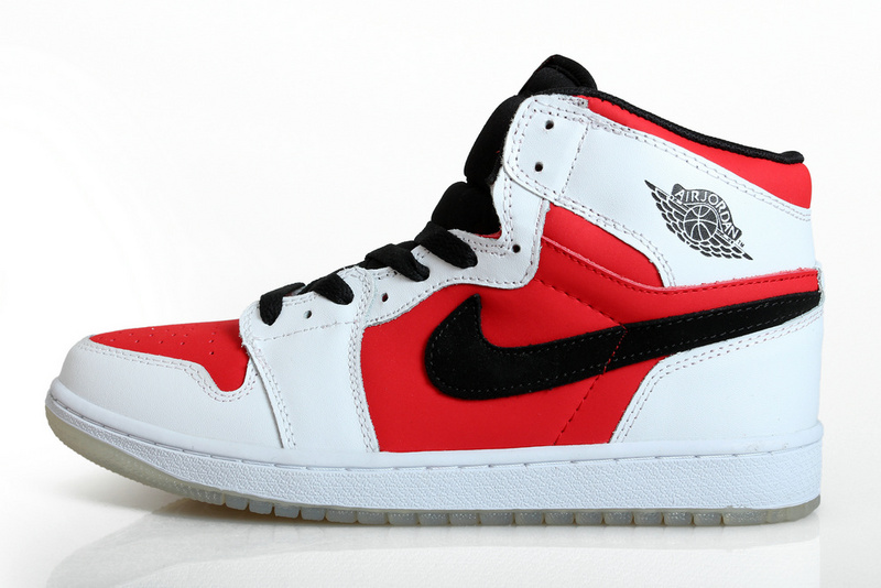 2014 Air Jordan Retro 1 Carmine Red White Black Shoes
