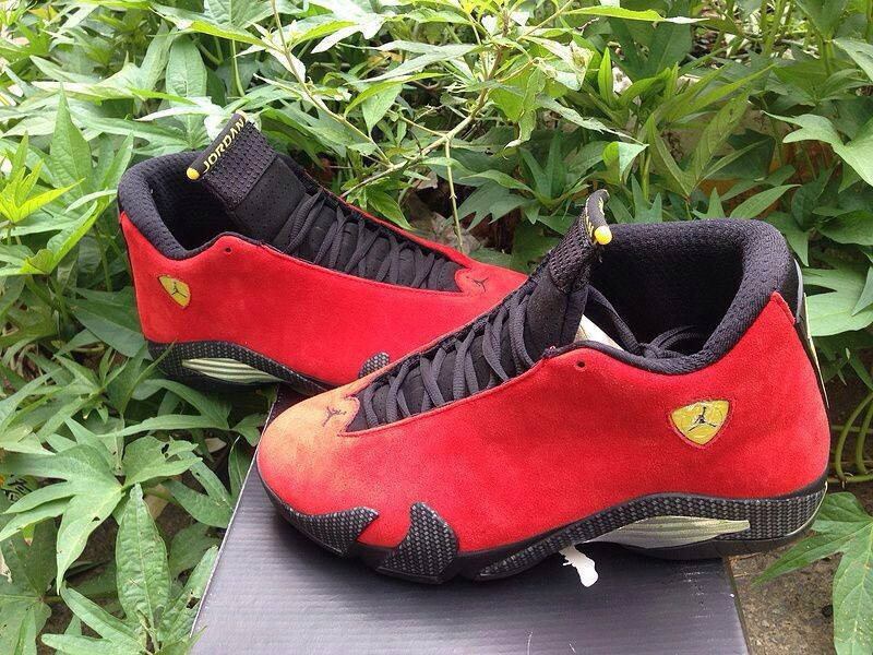 2014 Jordan 14 Ferrari Red Black Gold Shoes