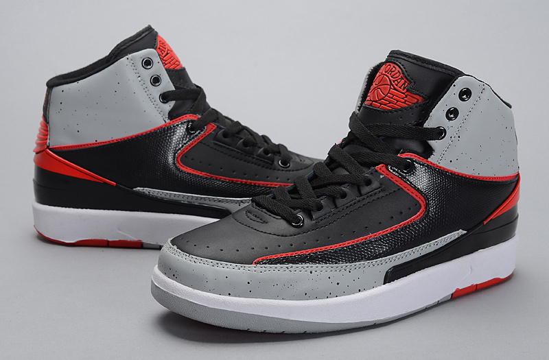 2014 Jordan 2 Retro Black Grey Red Shoes
