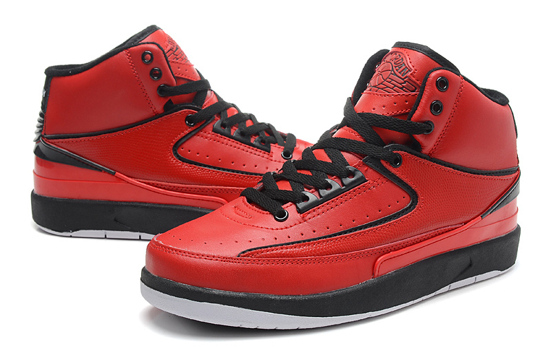 2014 Jordan 2 Retro Red Black White Shoes