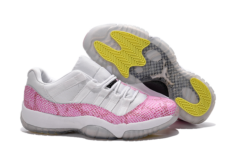 2015 Air Jordan 11 GS Low White Pink Snakeskin
