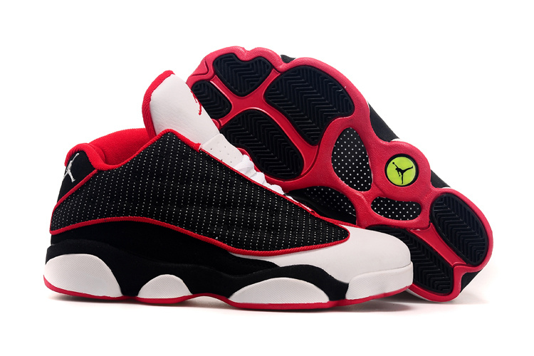 2015 Air Jordan 13 Low Leather Black White Red