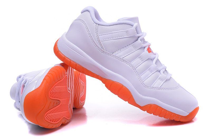 2015 Air Jordan 11 White Orange Shoes For Women