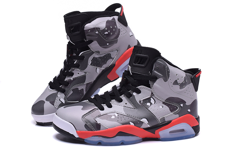 2015 Jordan 6 Lover Army Grey Red Black Shoes