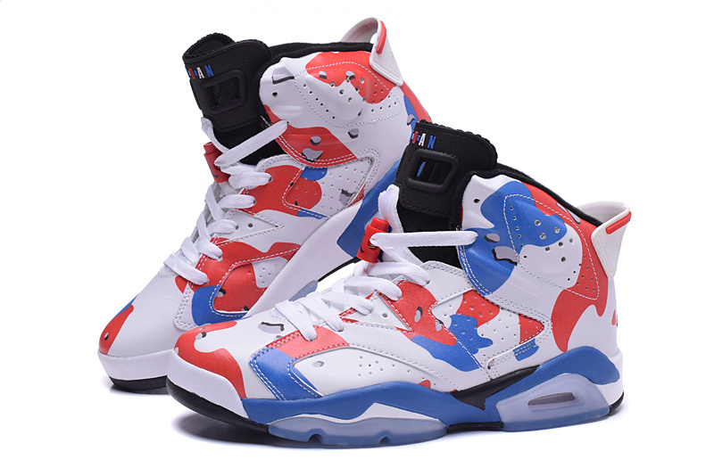 2015 Jordan 6 Lover White Red Blue Shoes