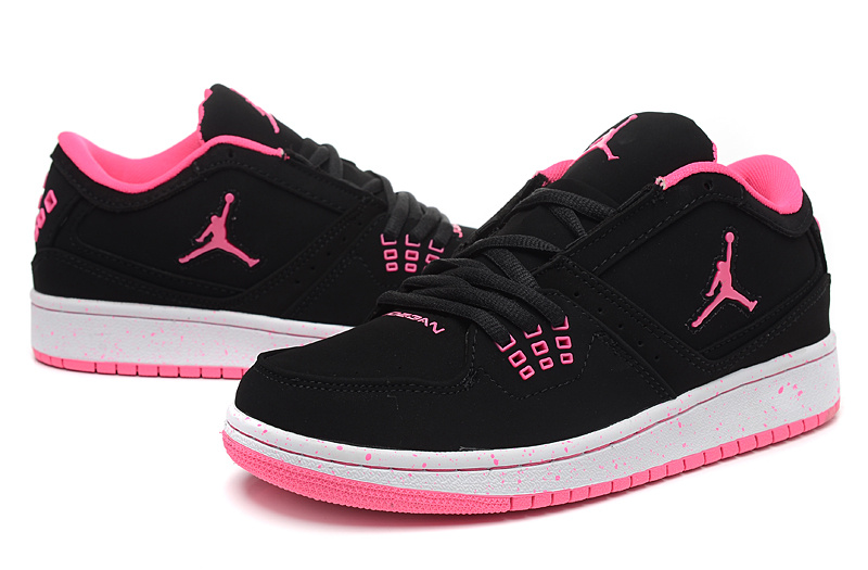 Real Air Jordan 1 Flight Low Black Red Shoes