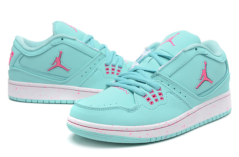 Real Air Jordan 1 Flight Low Green Pink Shoes