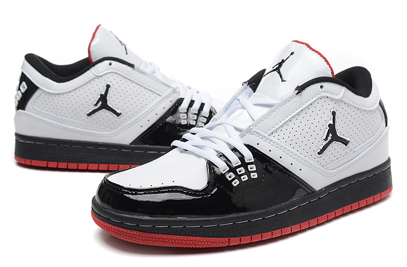 Real 2015 Air Jordan 1 Low White Black Red Shoes
