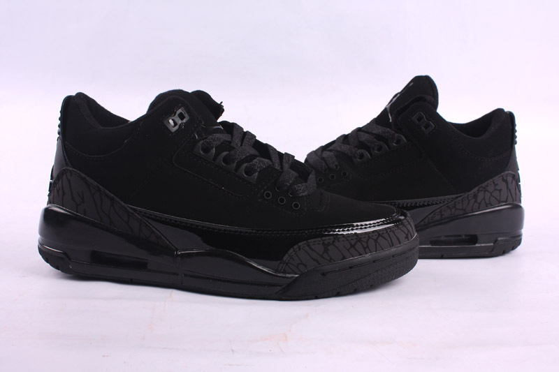 Real 2015 Air Jordan 3 Retro All Black Lover Shoes