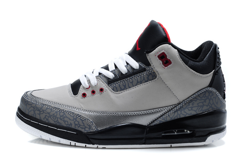 Real 2015 Air Jordan 3 Retro Grey Black Red Lover Shoes