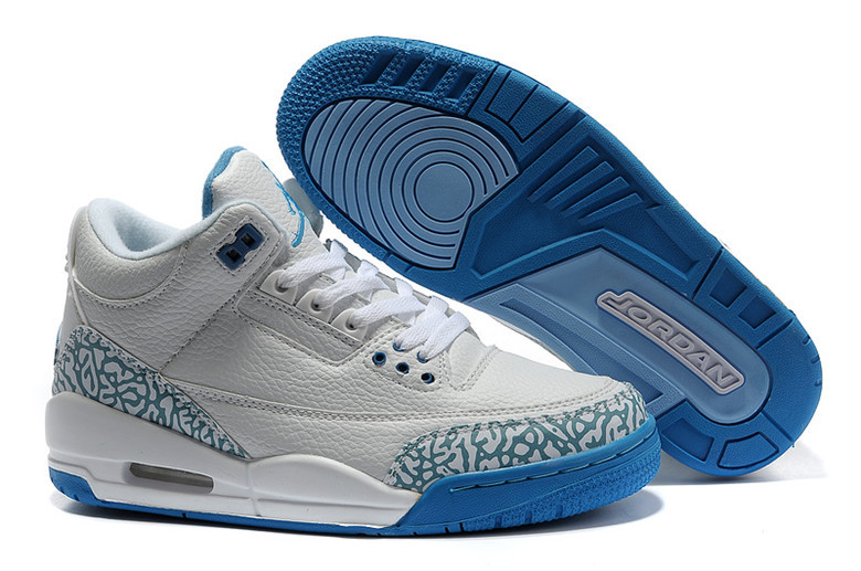 Real 2015 Air Jordan 3 Retro Grey Blue Lover Shoes