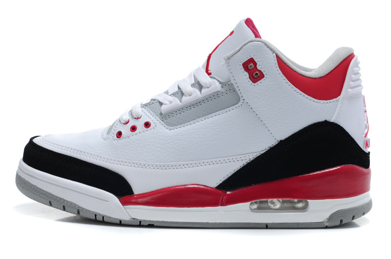 best service b1cf5 64127 Real Air Jordan 3 Retro White Red Black Lover Shoes [REALAJS1834 ...