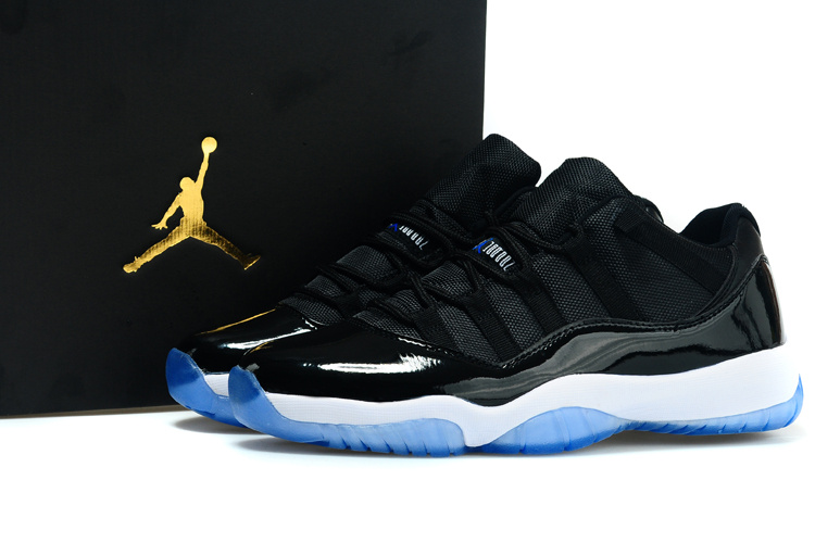 ad11c79dd9c23d 2015 Air Jordan 11 Low Black White Blue Shoes