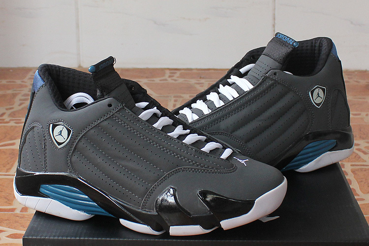 e3230c04693a98 2015 Air Jordan 14 Black Grey Blue Shoes