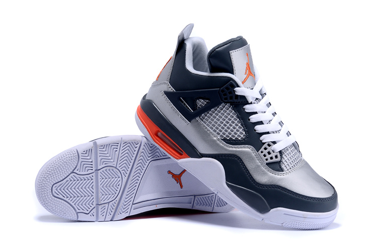 2015 Air Jordan 4 Silver Deep Blue Shoes