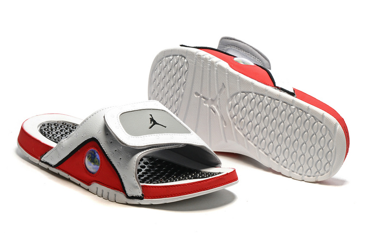 2016 Air Jordan Hydro 13 Slide Sandals White Black True Red Cement Grey