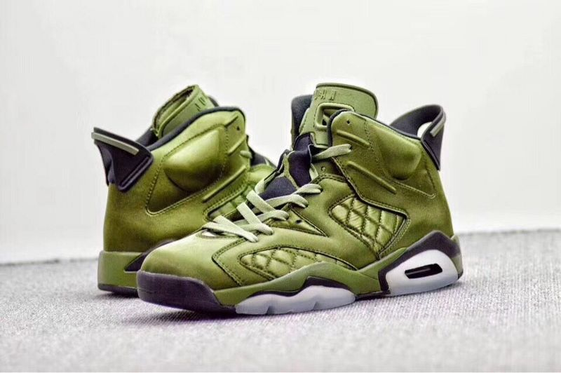 2017 Men Air Jordan 6 Jacket Green Black Shoes