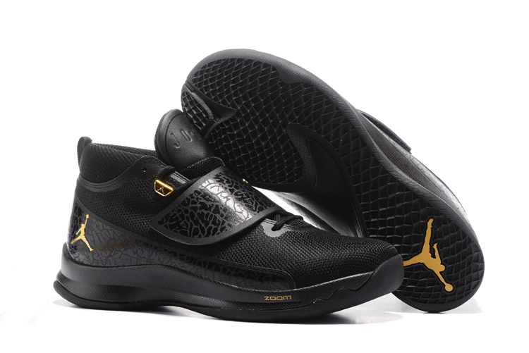 2017 Men Jordan Super Fly V Black Gold Shoes