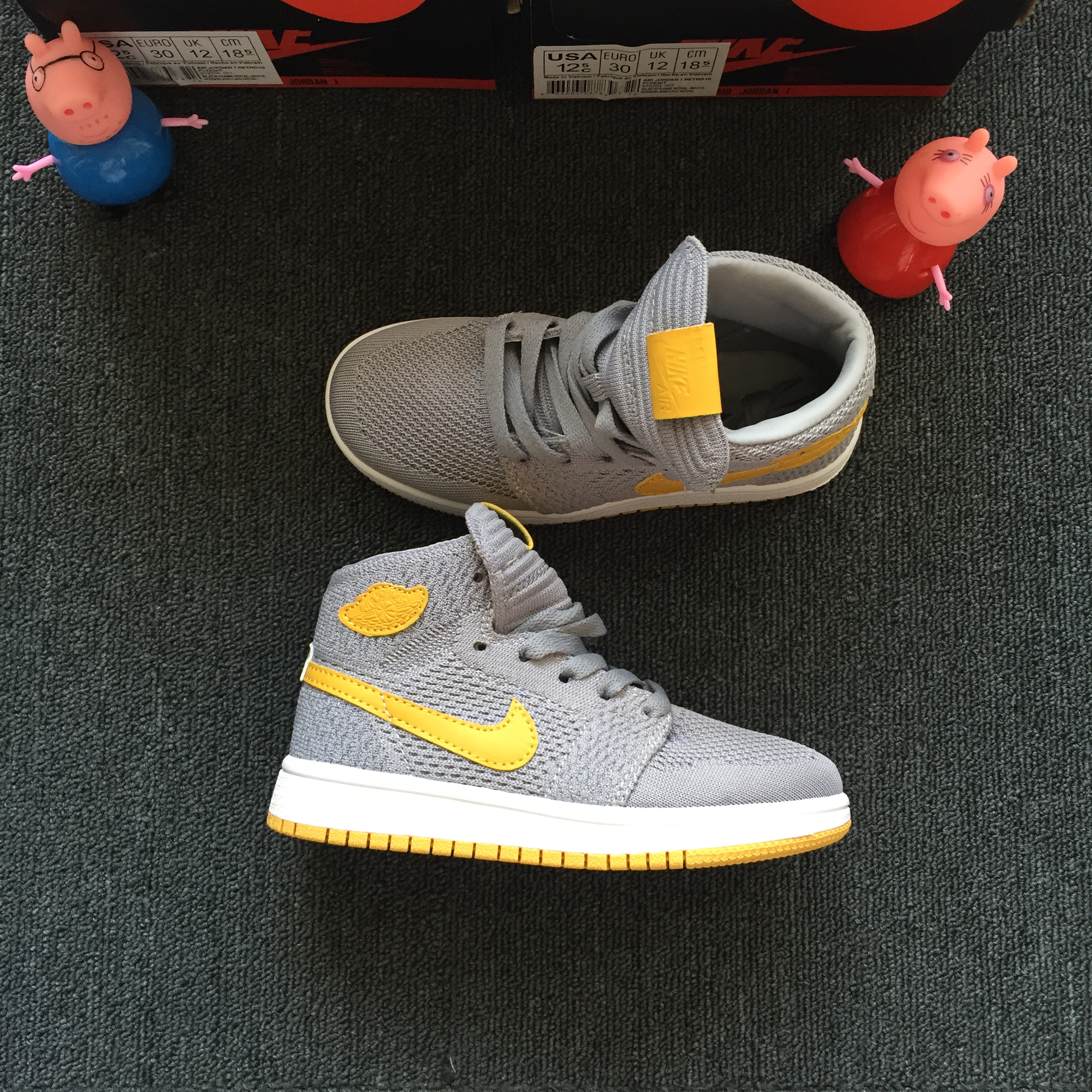 2018 Air Jordan 1 Knit Grey Yellow Shoes For Kids