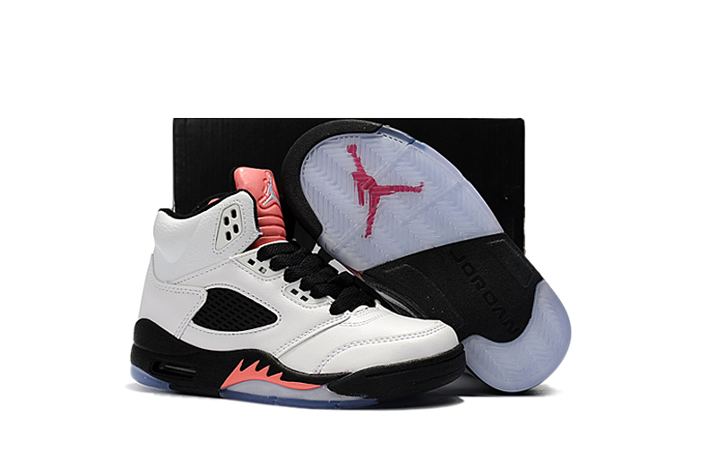on sale 21ded 05153 2018 Air Jordan 5 White Black Pink Shoes For Kids