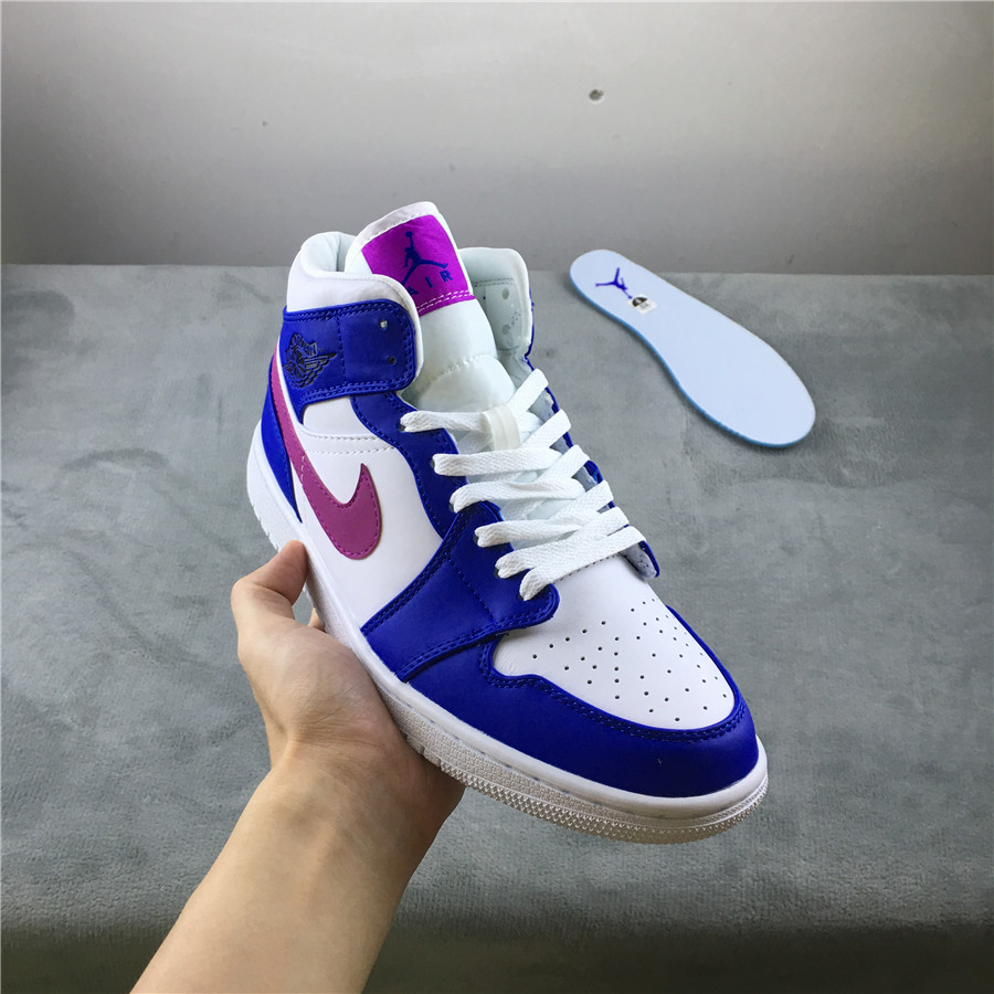 New Real Air Jordan 1 Mid Blue White Purple