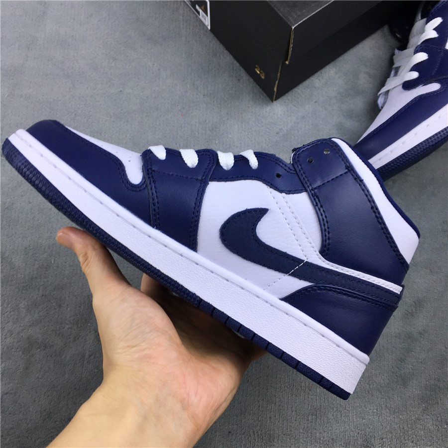 Real Jordan 1 Mid Navy Blue White Shoes