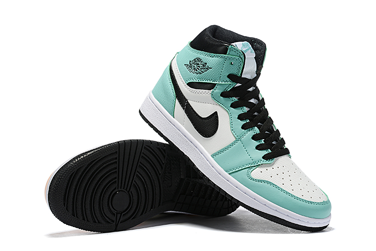 Women Air Jordan 1 Green White Pink Black