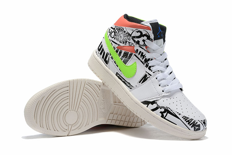 Real 2019 Air Jordan 1 White Colorful Black Green Orange