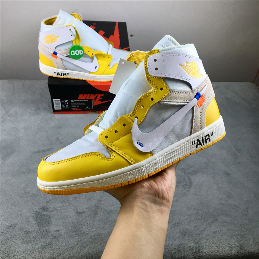 New Real Air Jordan 1 x Off-white White Yellow