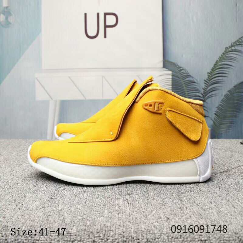 2019 Air Jordan 18 Yellow White Shoes