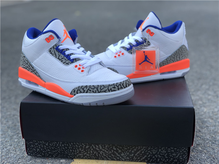 2019 Air Jordan 3 Knicks White Orange Tech Grey