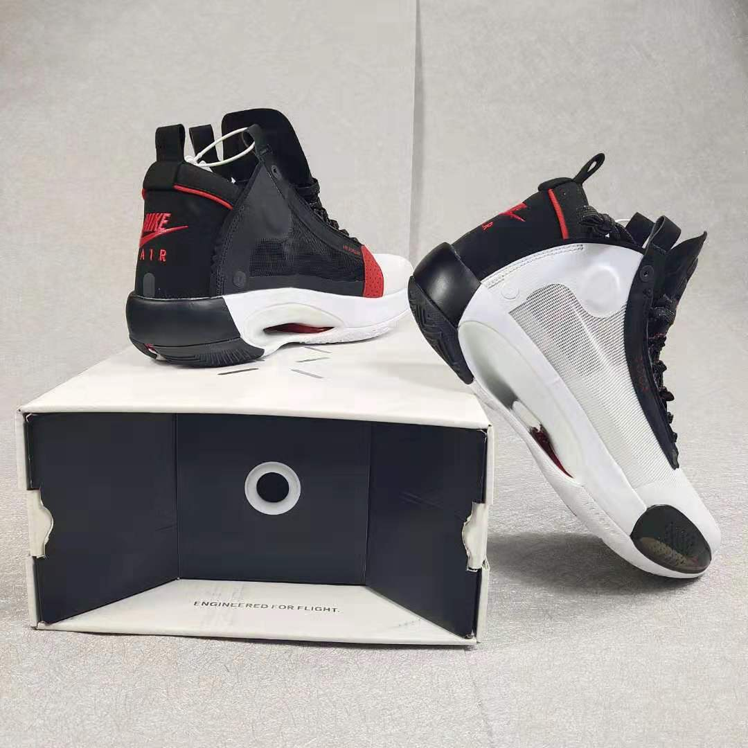 Jordan 34 White Black Silver Red