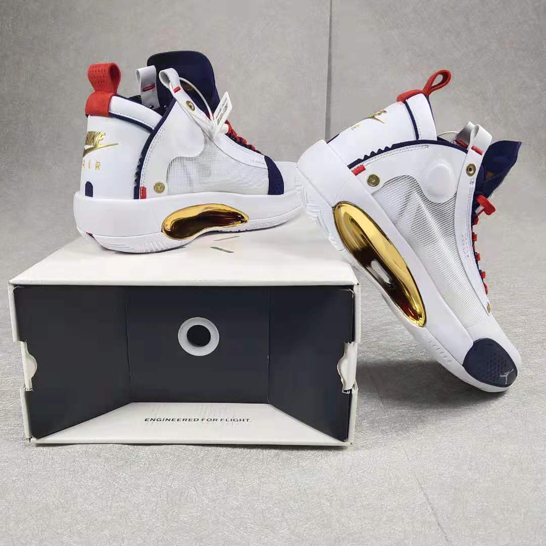 Jordan 34 White Blue Gold Red