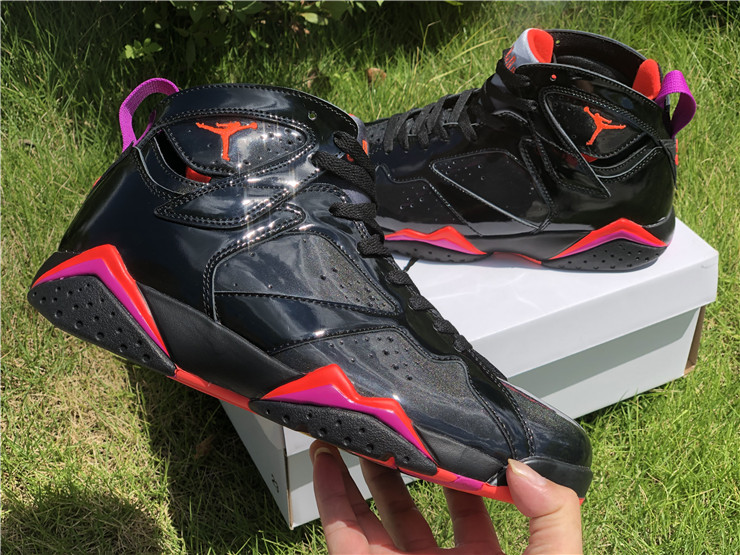2019 Mens Air Jordan 7 Retro Black Patent Leather