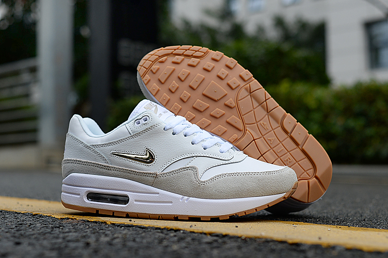 2019 Nike Air Max 90 White Grey Gold Shoes