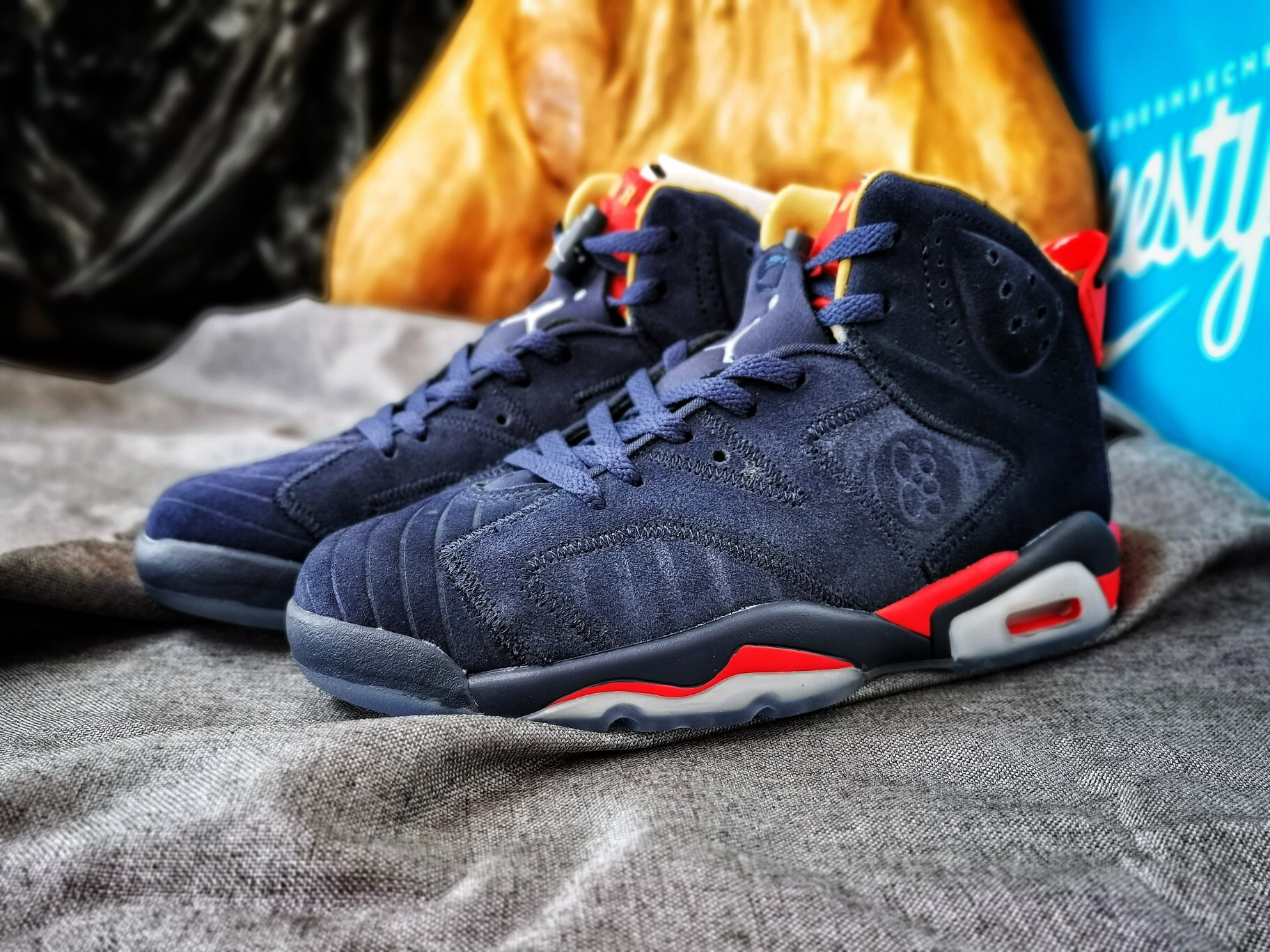 2019 Real Air Jordan 6 Charity Blue Red For Women