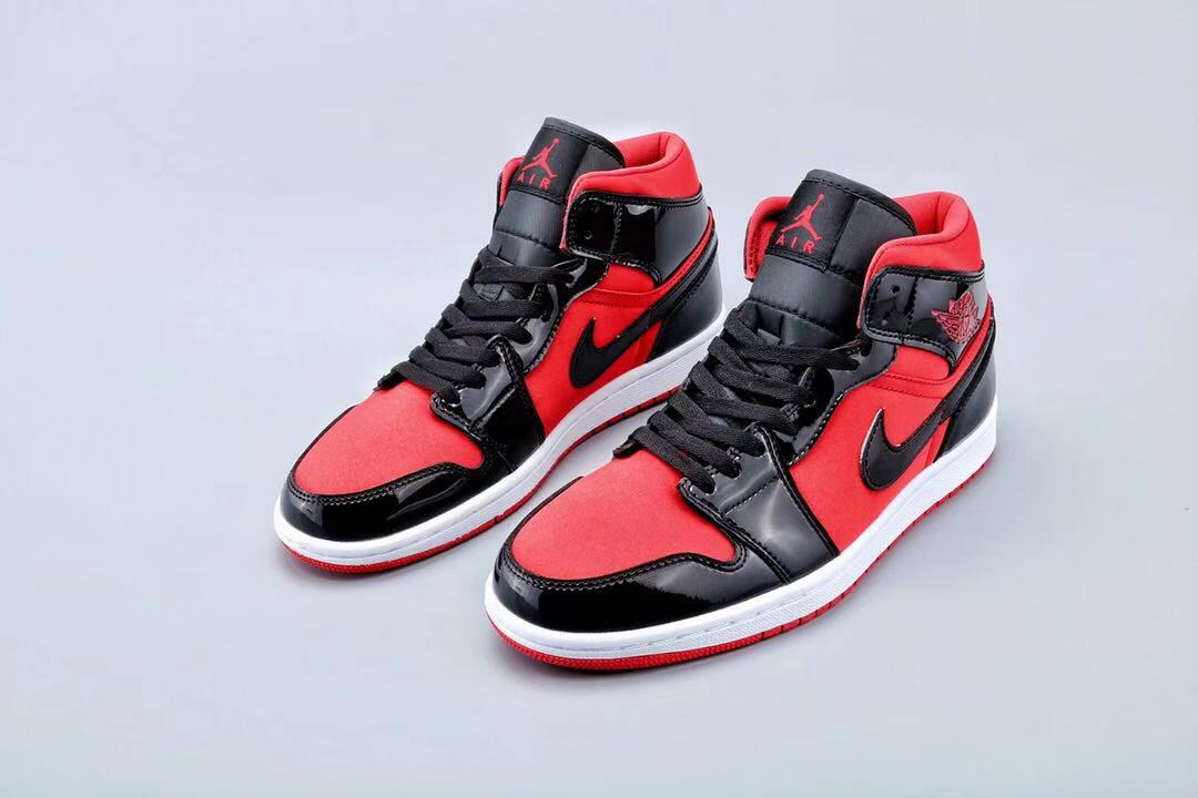 Newest Jordan 1 Mid Patent Leather Black Red