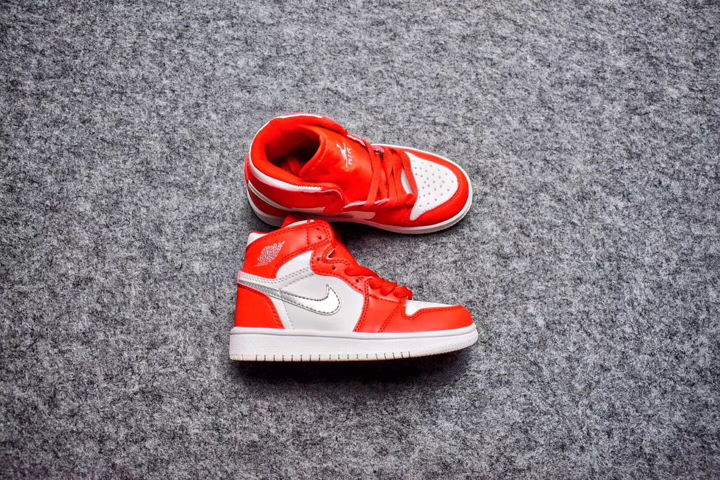 Air Jordan 1 Red White Silver Shoes For Kids