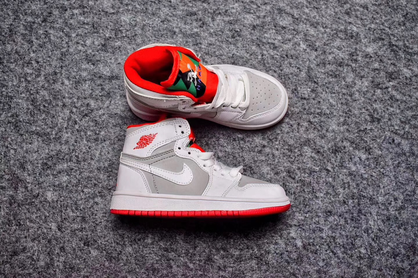 Air Jordan 1 White Grey Red Shoes For Kids