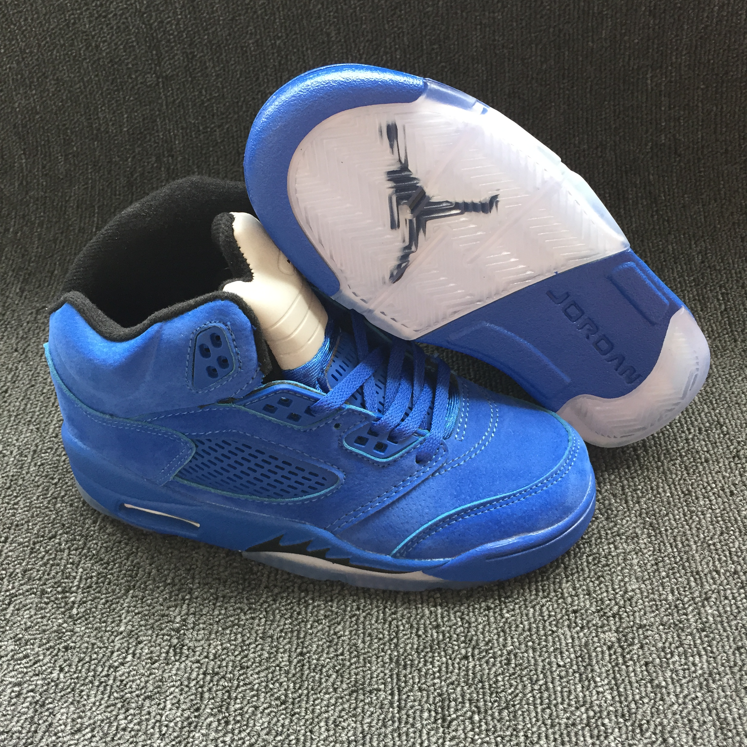 Air Jordan 5 Retro Sea Blue White Shoes For Kids
