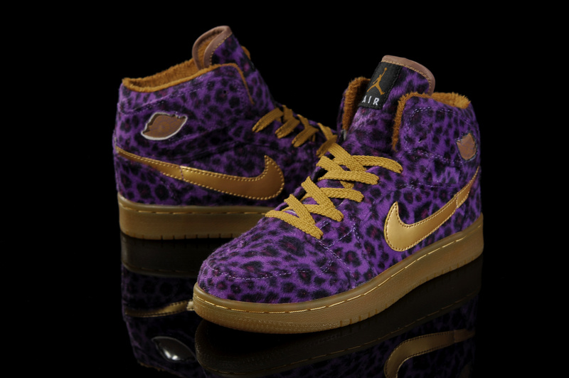 Cheap 2013 Air Jordan 1 Leopard Purple Brown For Women