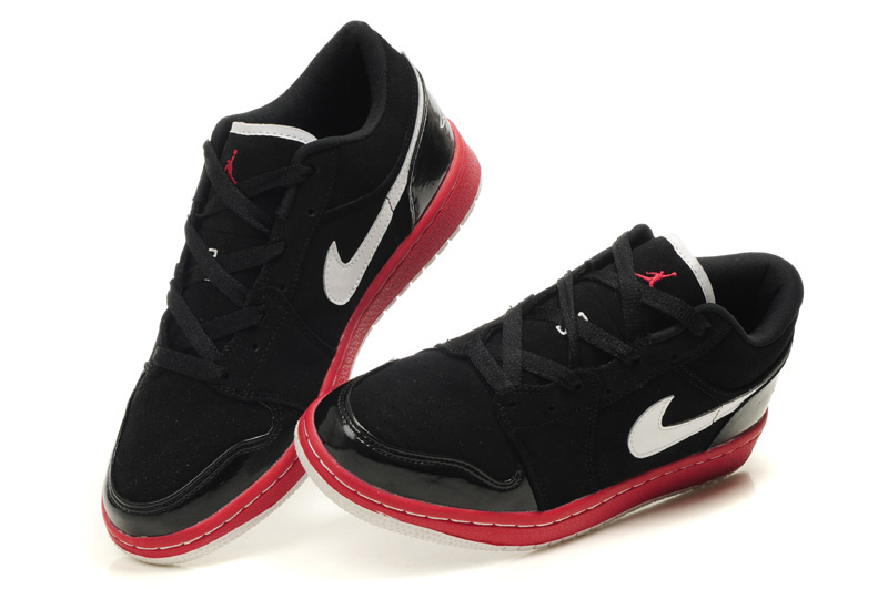 Comfortable Low-cut Air Jordan 1 Black Red White Shoes
