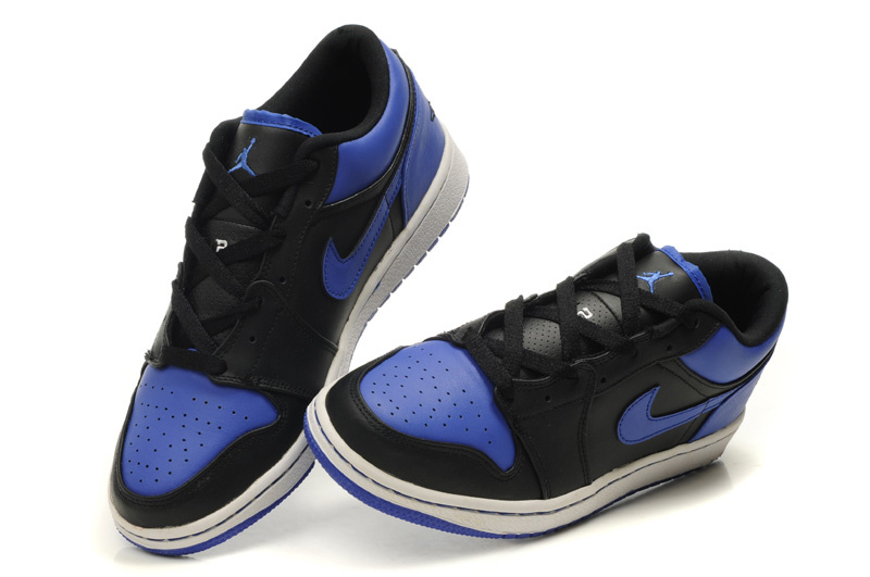 Comfortable Low-cut Air Jordan 1 Black White Blue Shoes