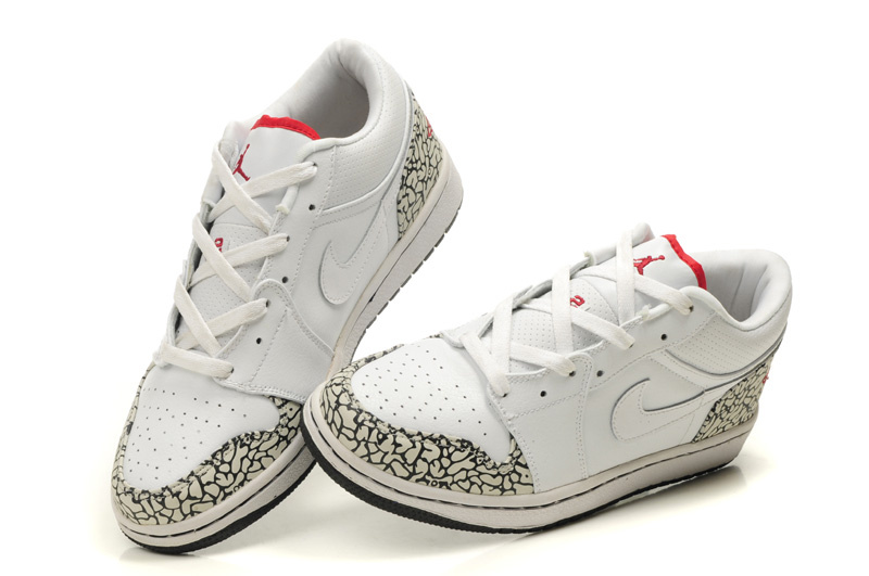 Comfortable Low-cut Air Jordan 1 White Cement Black Shoes