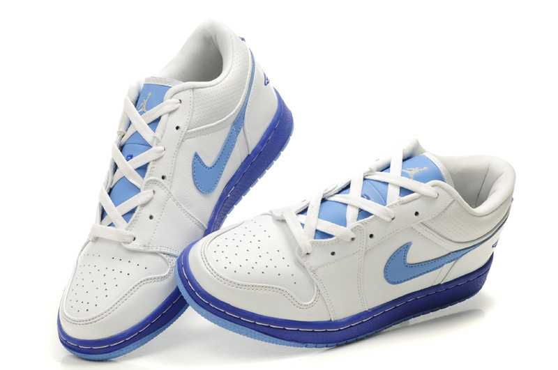 Comfortable Low-cut Air Jordan 1 White Light Blue Shoes
