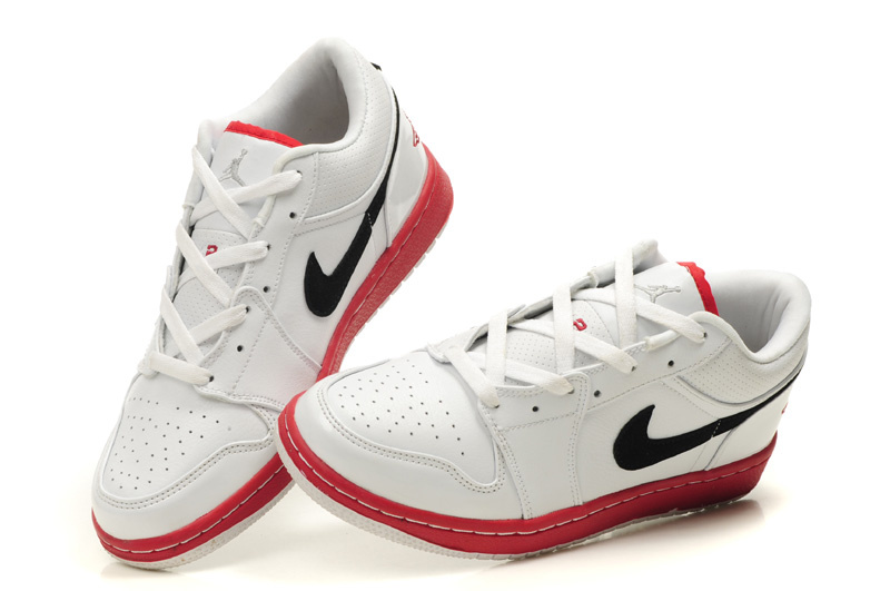 Comfortable Low-cut Air Jordan 1 White Red Black Shoes