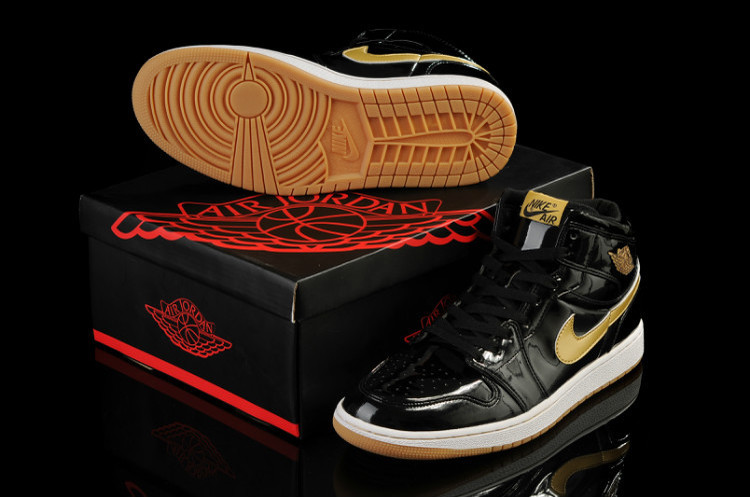 New Air Jordan Retro 1 Black Gold Shoes