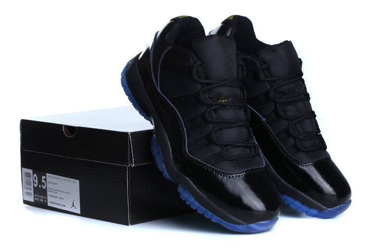 c2eb1d1c5af356 New Air Jordan Retro 11 Low Black Blue Shoes